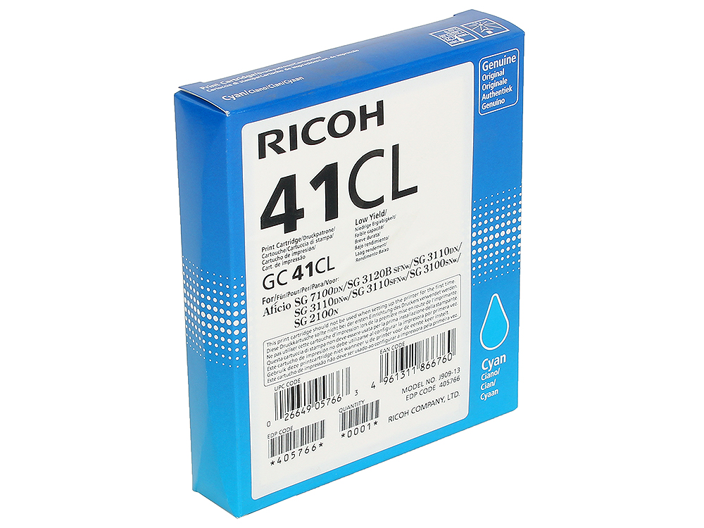 Картридж Ricoh GC 41CL для Aficio SG 2100N/ 3110DN/ 3110DNw/3100SNw/3110SFNw/7100DN. Голубой. 600 страниц. tprhm mp4000 premium laser copier toner powder for ricoh aficio mp5002sp for gestetner dsm735e dsm745e 1kg bag free fedex