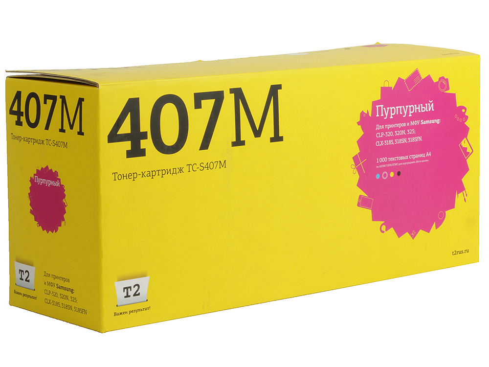 Картридж T2 TC-S407M для Samsung CLP-320/325/CLX-3185. Пурпурный. 1000 страниц. (CLT-M407S) картридж samsung clt m407s magenta для clp 325 clx 3185 1000 страниц