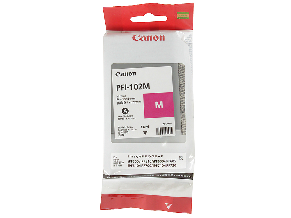 Картридж Canon PFI-102 M для плоттера Canon imagePROGRAF iPF500, iPF510, iPF600, iPF605, iPF610, iPF700, iPF710, iPF720. Пурпурный. 6 color pfi 102 refillable ink cartridge with arc chip for canon ipf600 ipf700 ipf610 ipf605 ipf710 ipf720 lp17 lp24 printer