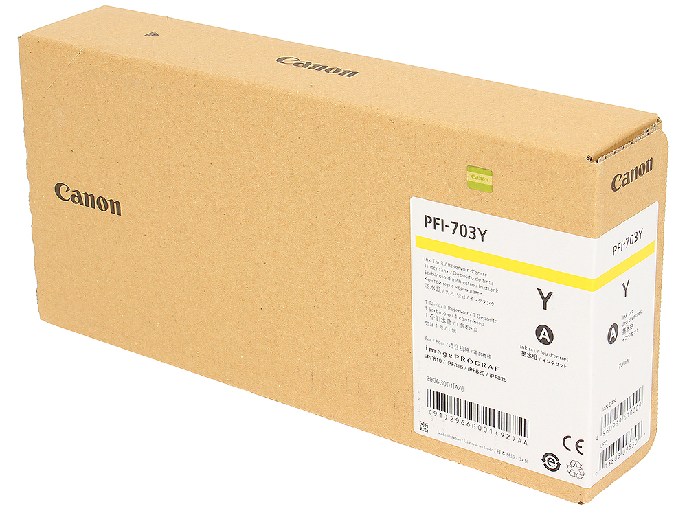 Картридж Canon PFI-703 Y для плоттера iPF815/825. Жёлтый. 700 мл. картридж canon pfi 307 y жёлтый