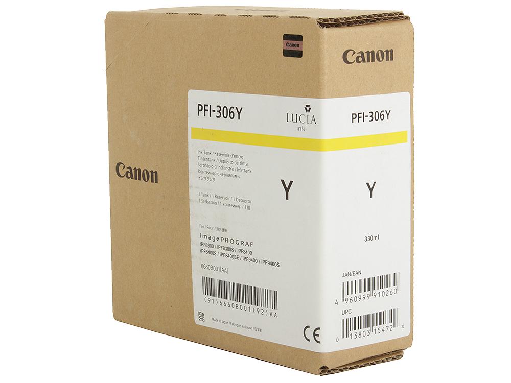 Картридж Canon PFI-306 Y для плоттера iPF8400SE/8400S/8400/9400S/9400. Жёлтый. 330 мл. картридж canon pfi 706 b для ipf8400 9400 синий