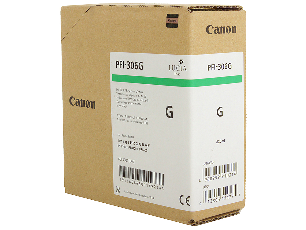 Картридж Canon PFI-306 G для плоттера iPF8400/9400. Зелёный. 330 мл. canon pfi 306 black