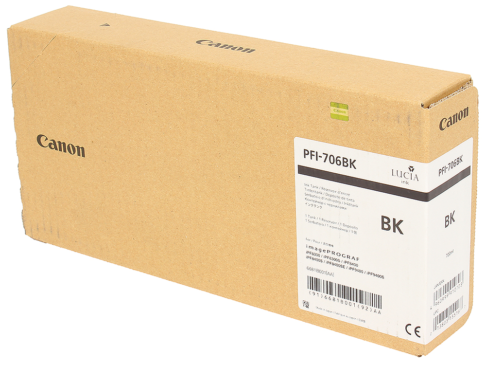 Картридж Canon PFI-706 BK для плоттера iPF8400SE/8400S/8400/9400S/9400. Чёрный. 700 мл. картридж canon pfi 706 gy для плоттера ipf8400s 8400 9400se 9400 серый 700 мл
