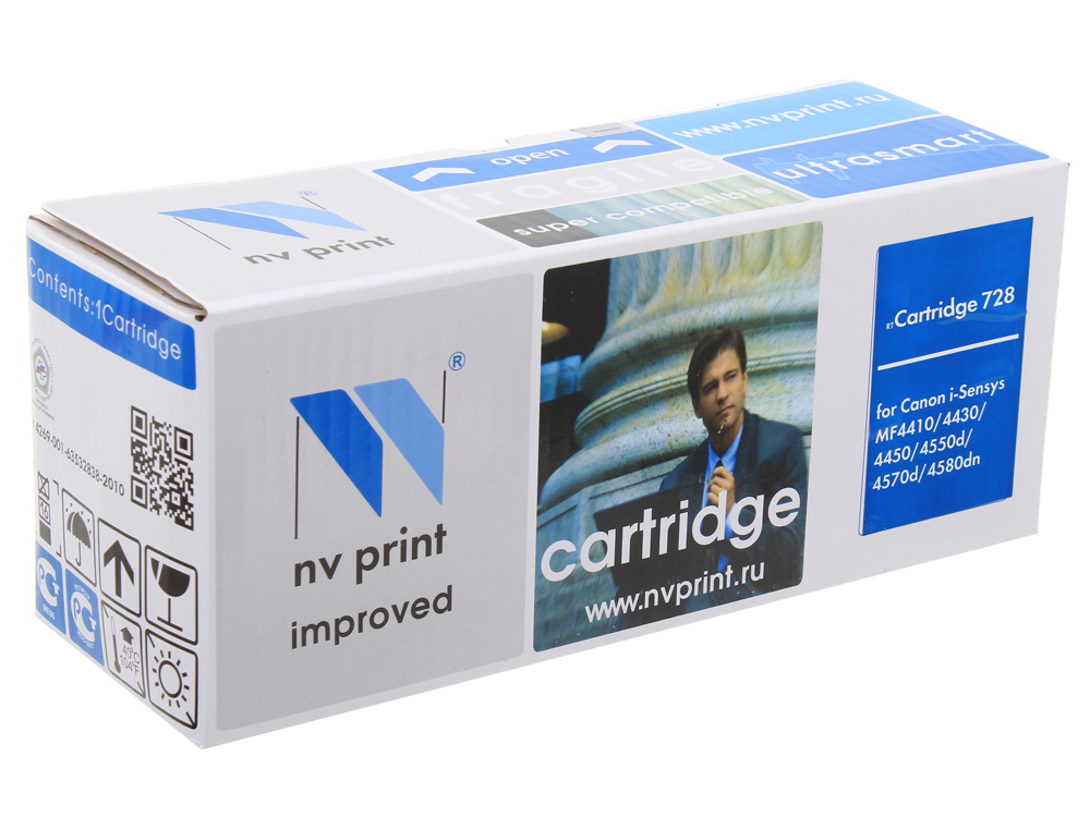 Картридж NV-Print совместимый  Canon 728 для MF4580dn/4570dn/4550dn/4450/4430/4410/HP LJ Р1566/Р1606W/ Черный. 2100 страниц.