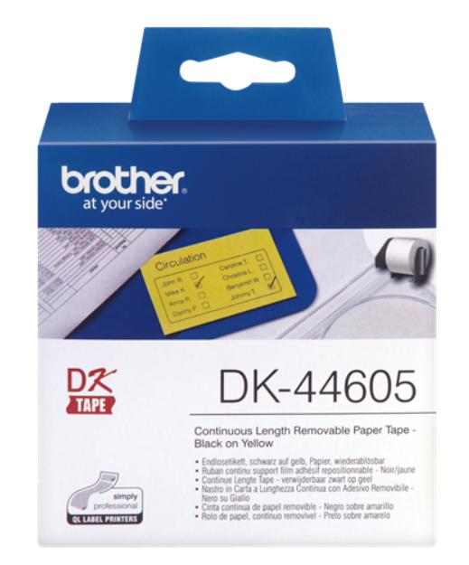 Лента Brother DK-44605 жёлтая неразрезанная отделяемая бумажная для наклеек лента для печатающего устройства kgofficeservice dk11202 dk 11202 62 100 300pcs ql 1060 lable for dk11202 lables