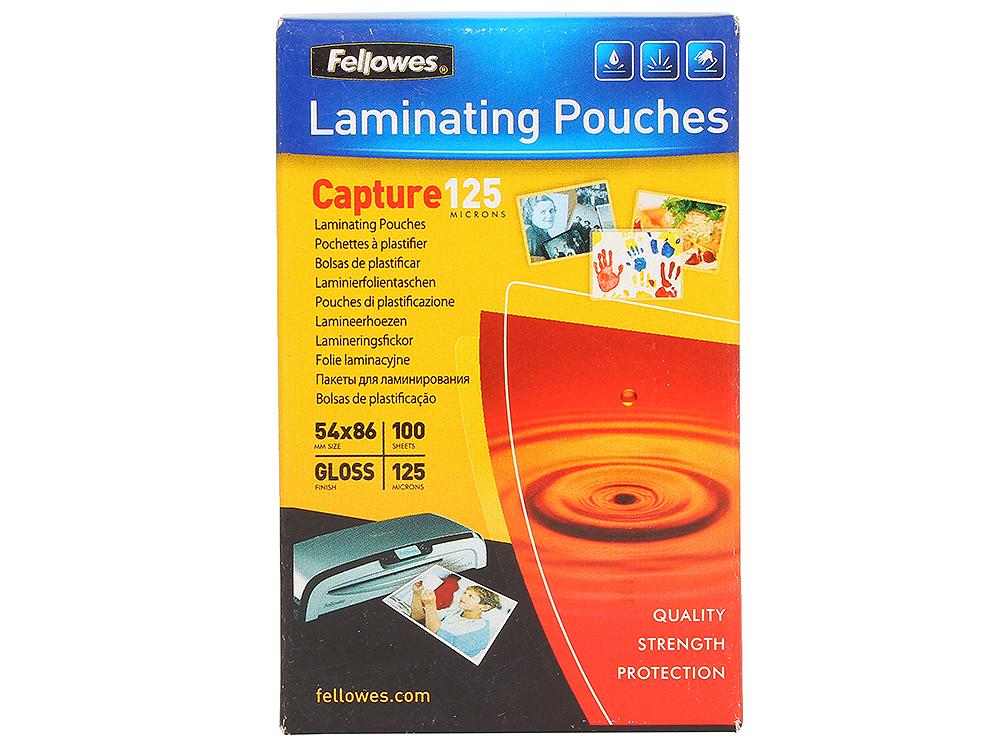 Плёнка для ламинирования Fellowes (53063) 54х86 мм, 125 мкм, глянцевая, 100 шт. плёнка для ламинирования fellowes 53067 65х95 мм 125 мкм глянцевая 100 шт