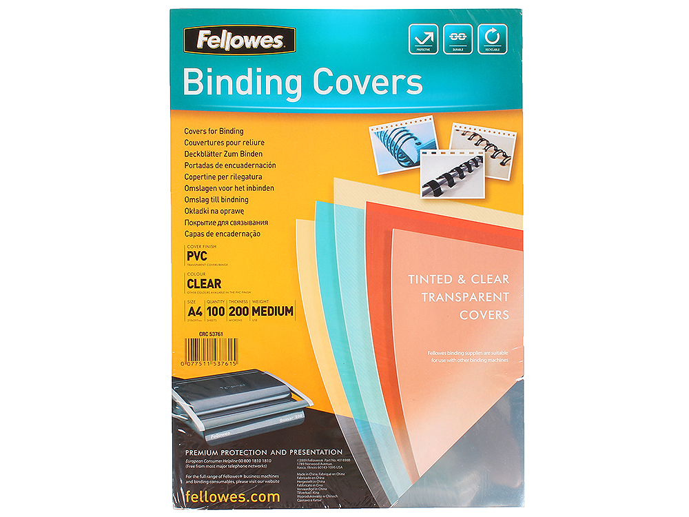 Обложка Transparent А4 Fellowes, 200 мкм, прозрачный fellowes powershred 99ci black шредер