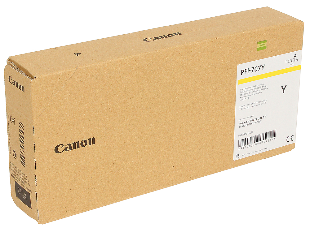 Картридж Canon PFI-707 Y Жёлтый картридж canon pfi 703c 2964b001