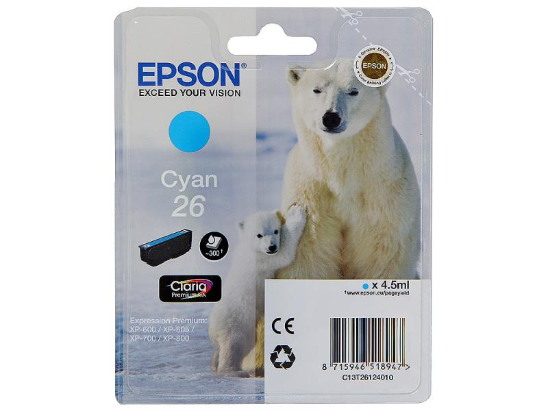 Картридж Epson Original T261240 для Expression Premium XP-600/XP-700/XP-800. Голубой suitable for north america t2001 ciss chip for epson xp 200 xp 300 xp 400 xp 510 printer arc chip for epson t2001 t2004