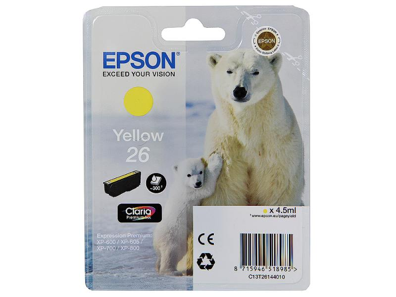 Картридж Epson Original T261440 для Expression Premium XP-600/XP-700/XP-800. Желтый suitable for north america t2001 ciss chip for epson xp 200 xp 300 xp 400 xp 510 printer arc chip for epson t2001 t2004