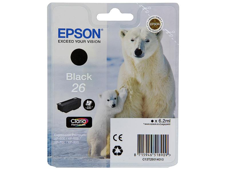Картридж Epson Original T260140 для Expression Premium XP-600/XP-700/XP-800. Черный suitable for north america t2001 ciss chip for epson xp 200 xp 300 xp 400 xp 510 printer arc chip for epson t2001 t2004
