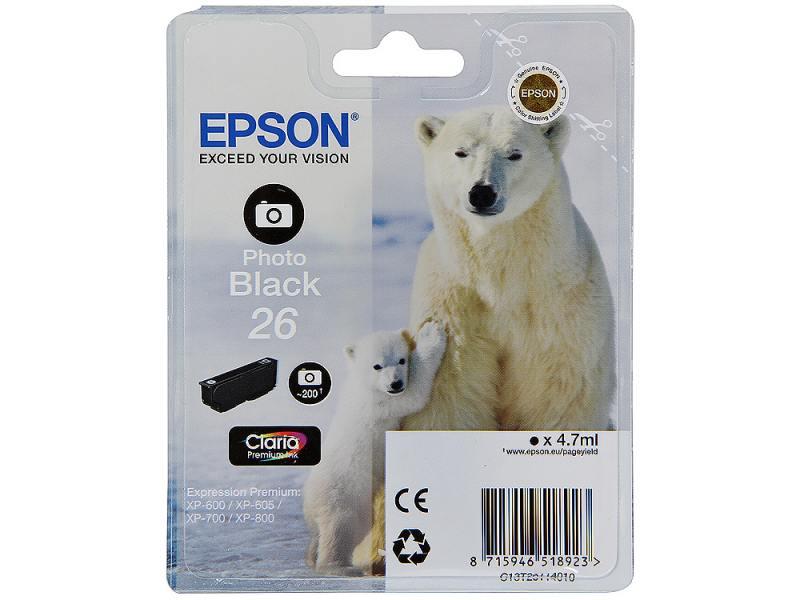 Картридж Epson Original T261140 для Expression Premium XP-600/XP-700/XP-800. Черный фото original cc03main mainboard main board for epson l455 l550 l551 l555 l558 wf 2520 wf 2530 printer formatter