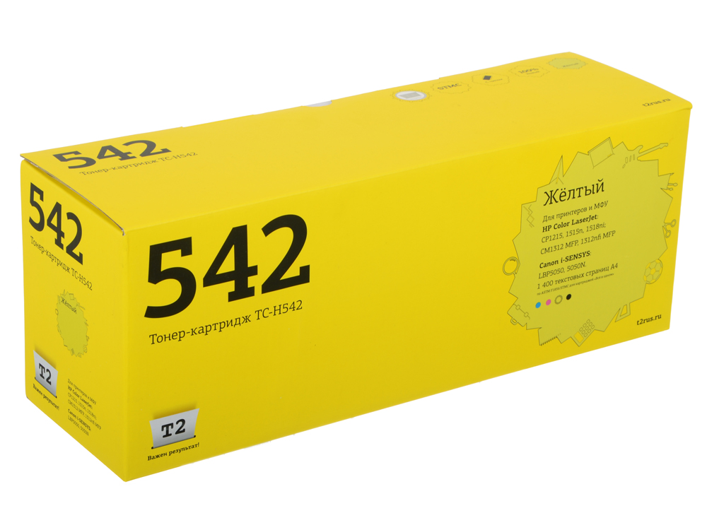 Картридж T2 TC-H542 (аналог CB542A) для HP Color LaserJet CP1215/CP1515n/Canon 716Y (1400 стр.) Желтый, с чипом картридж t2 cb543a для hp colorlaserjet cp1215 cp1515n cp1518ni пурпурный 1400стр tc h543