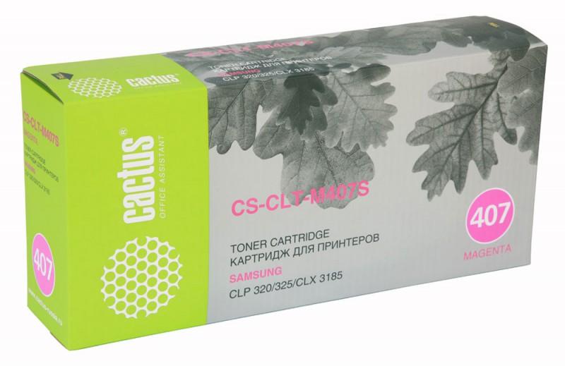 Тонер Картридж Cactus CS-CLT-M407S пурпурный для Samsung CLP320/320n/325/CLX3185/3185n/3185fn (1000С hot sale toner powder chip for samsung 407 forsamsung clp 326 326w 321n 320 325 325w clx 3186n 3186fn 3186w 3185 3185fn 3185fw