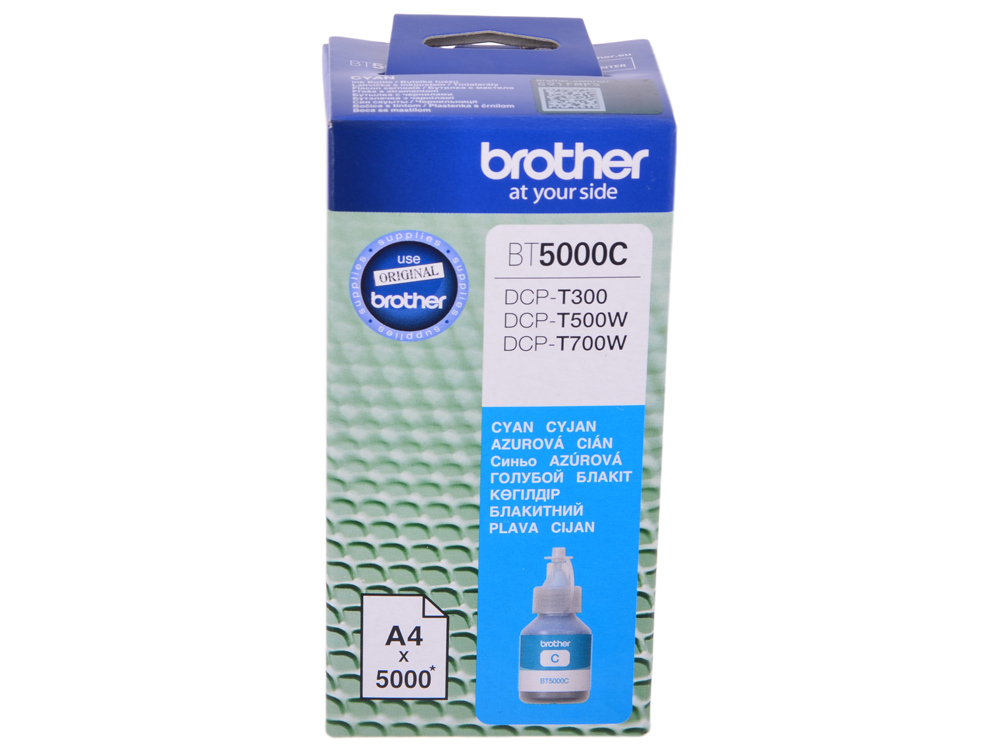 Бутылка с чернилами Brother BT5000C, голубой для DCP-T300/DCP-T500W/DCP-T700W (5000стр) бутылка с чернилами brother bt6000bk чёрный для dcp t300 dcp t500w dcp t700w 6000стр