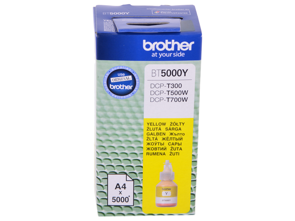 Бутылка с чернилами Brother BT5000Y, желтый для DCP-T300/DCP-T500W/DCP-T700W (5000стр) cactus cs i bt5000y yellow чернила для brother dcp t300 dcp t500w dcp t700w mfc t800w