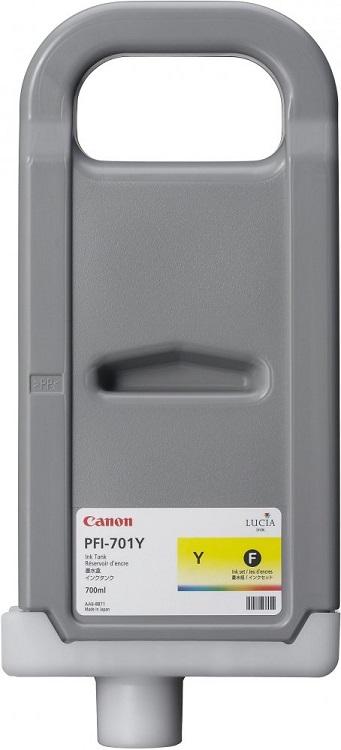 Картридж Canon PFI-701 Y для iPF8000/8100/9000/9100. Жёлтый. 700 мл. картридж canon pfi 701 pm для ipf8000 8100 9000 9100 фото пурпурный 700 мл