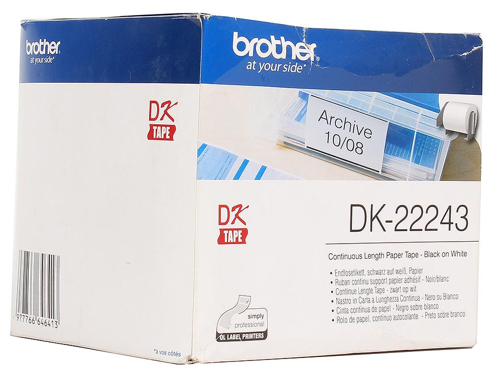 Лента Brother DK22243 бумажная клеящаяся белая 102мм*30,48м бумажная клеящаяся лента 50мм brother dk22223