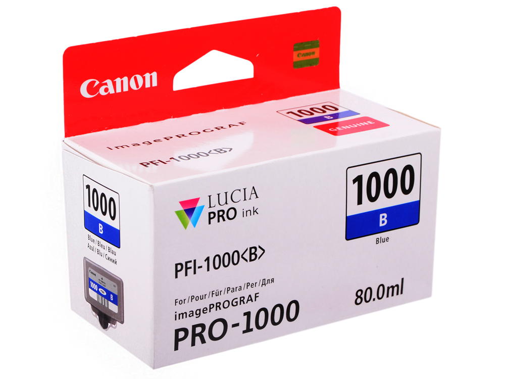 Картридж Canon PFI-1000 B для  IJ SFP PRO-1000 WFG. Синий. 80 мл. картридж canon pfi 706 b для ipf8400 9400 синий