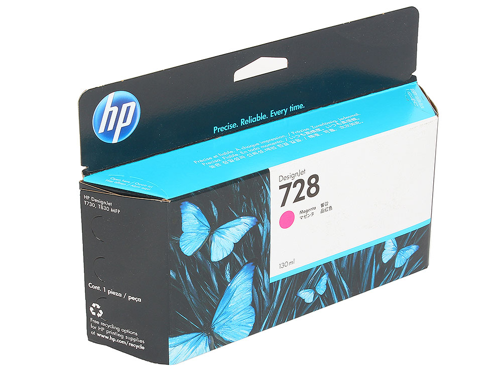 Картридж HP F9J66A (HP 728) для DesignJet T730, T830. Пурпурный. 130 мл. картридж hp 728 f9j65a yellow 130 мл