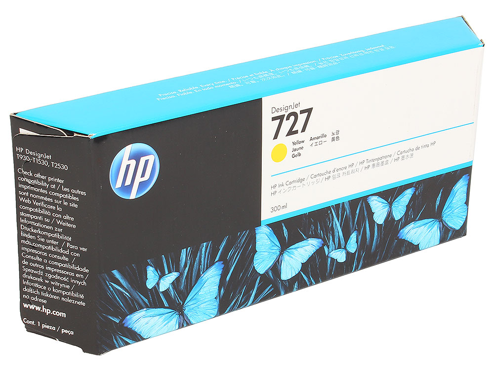 Картридж HP  F9J78A №727 для Designjet T920, T930, T1500, T1530, T2530. Жёлтый. 300 млl