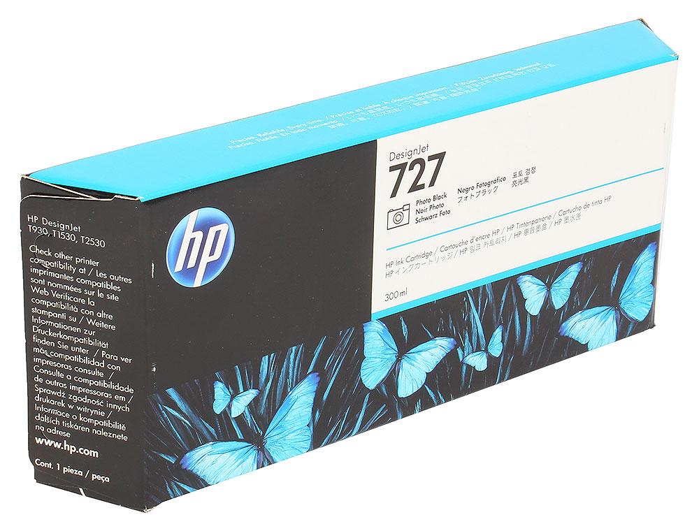 Картридж HP F9J79A №727 для Designjet T920, T930, T1500, T1530, T2530. Чёрный фото. 300 млl картридж hp f9j80a 727 для designjet t920 t930 t1500 t1530 t2530 серый 300 млl