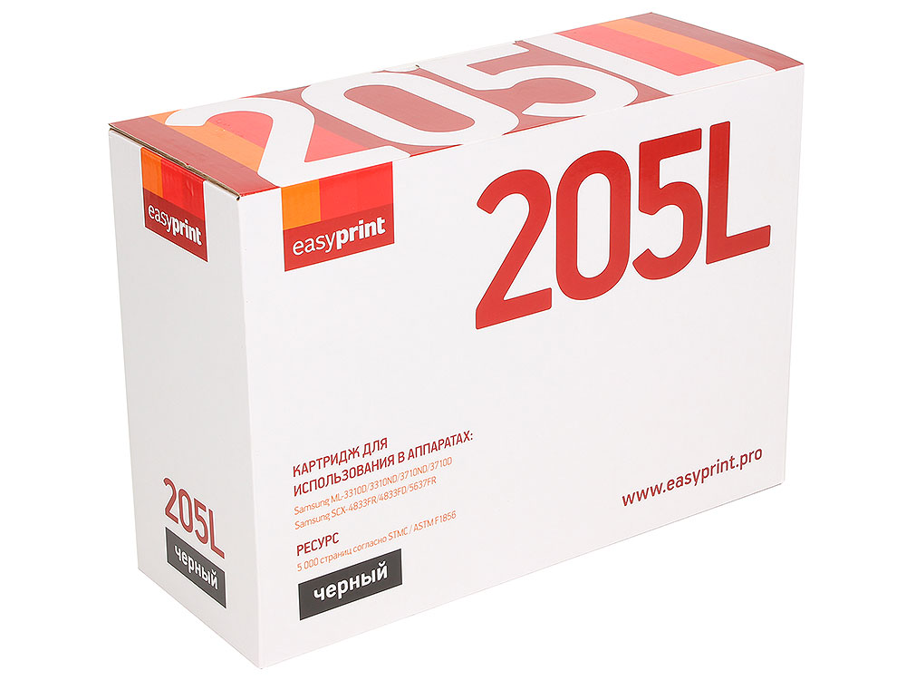 Картридж EasyPrint LS-205L для Samsung ML-3310D/3710D/SCX-4833FD. Чёрный. 5000 страниц. с чипом (MLT-D205L) картридж samsung ml 3310 3710 scx 4833 5637 mlt d205s see