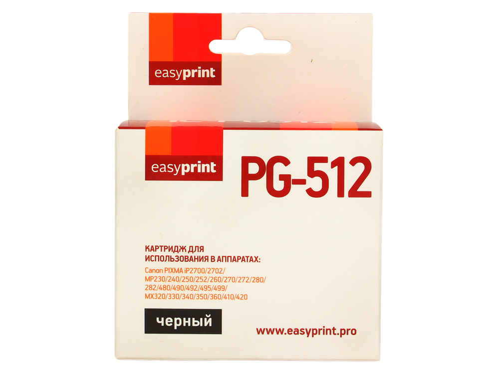 Картридж EasyPrint IC-PG512 для Canon PIXMA iP2700/MP230/260/280/480/MX330/360/410. Чёрный.