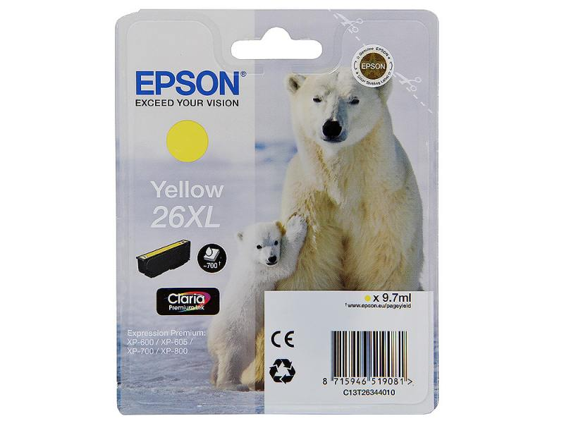 Картридж Epson C13T26344010 для XP-600 XP-605 XP-700 XP-800 Yellow Желтый увеличенный epson 26 c13t26144012 yellow картридж для xp 600 xp 700 xp 800