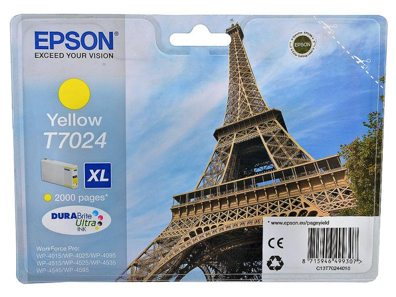 Картридж Epson C13T70244010XL для Epson WP 4000/4500 Series желтый 2000стр epson t7014 xl c13t70144010 yellow картридж для workforce pro wp 4000 5000 series
