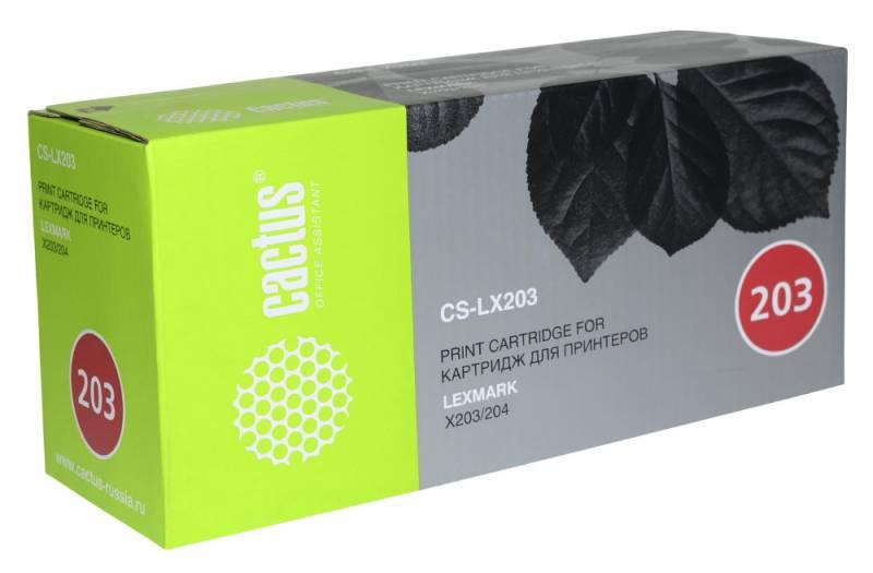Картридж Cactus CS-LX203 X203A21G для Lexmark X203/204 черный 2500стр
