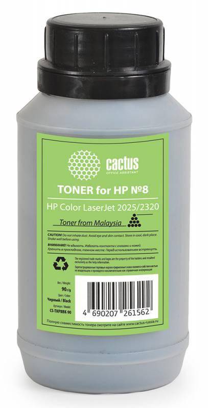 Тонер Cactus CS-THP8BK-90 для HP Color LaserJet 2025/2320 черный 90гр тонер cactus cs thp8bk 90 для hp clj 2025 2320 черный 90грамм флакон
