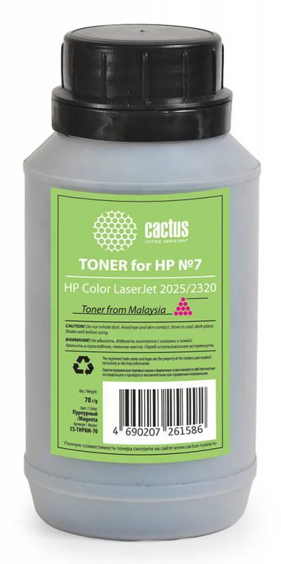 Тонер Cactus CS-THP8M-70 для HP Color LaserJet 2025/2320 пурпурный 70гр тонер cactus cs thp8y 70 для hp clj 2025 2320 желтый 70грамм флакон