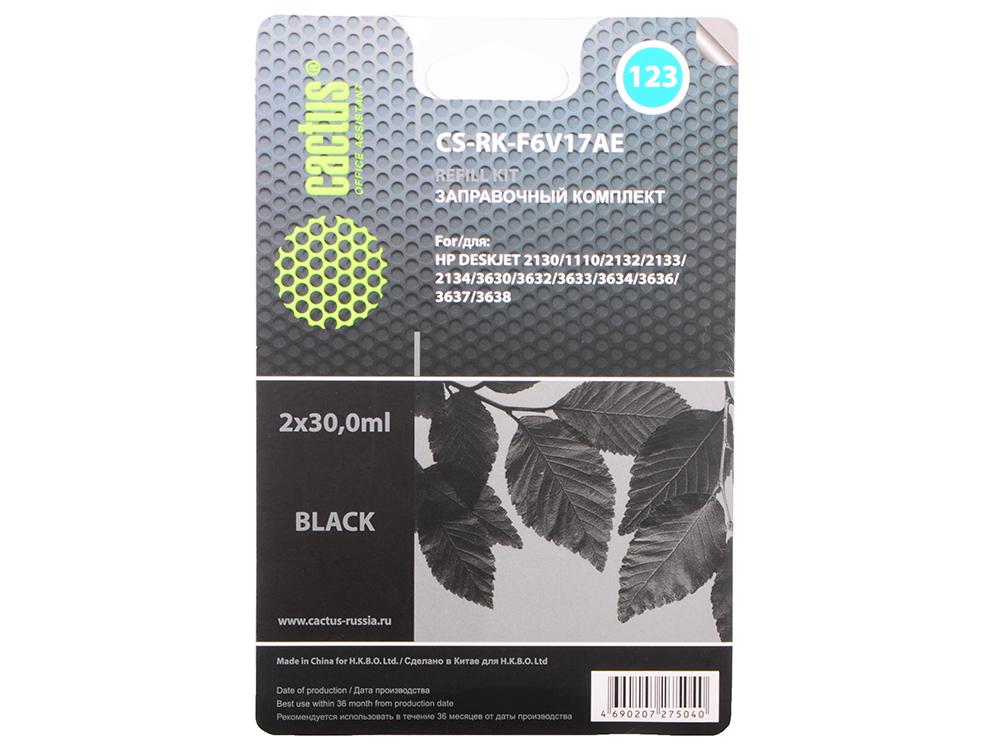 Чернила Cactus CS-RK-F6V17AE черный (black) 100 мл для HP DeskJet 2130/1110/2132/2133/2134/3630/3632/3633/3634/3636/3637/3638 hp f6v17ae 123