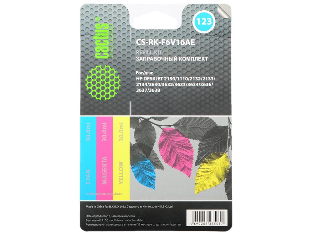 Заправка Cactus CS-RK-F6V16AE для HP DeskJet 2130 цветной 90мл заправка cactus cs rk f6v24ae для hp deskjet ink advantage 1115 2135 3635 3835 4535 цветной 90мл