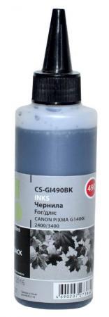 Чернила Cactus CS-GI490BK для Canon Pixma G1400 G2400 G3400 черный 100мл картридж совместимый для струйных принтеров cactus cs pgi29y желтый для canon pixma pro 1 36мл cs pgi29y