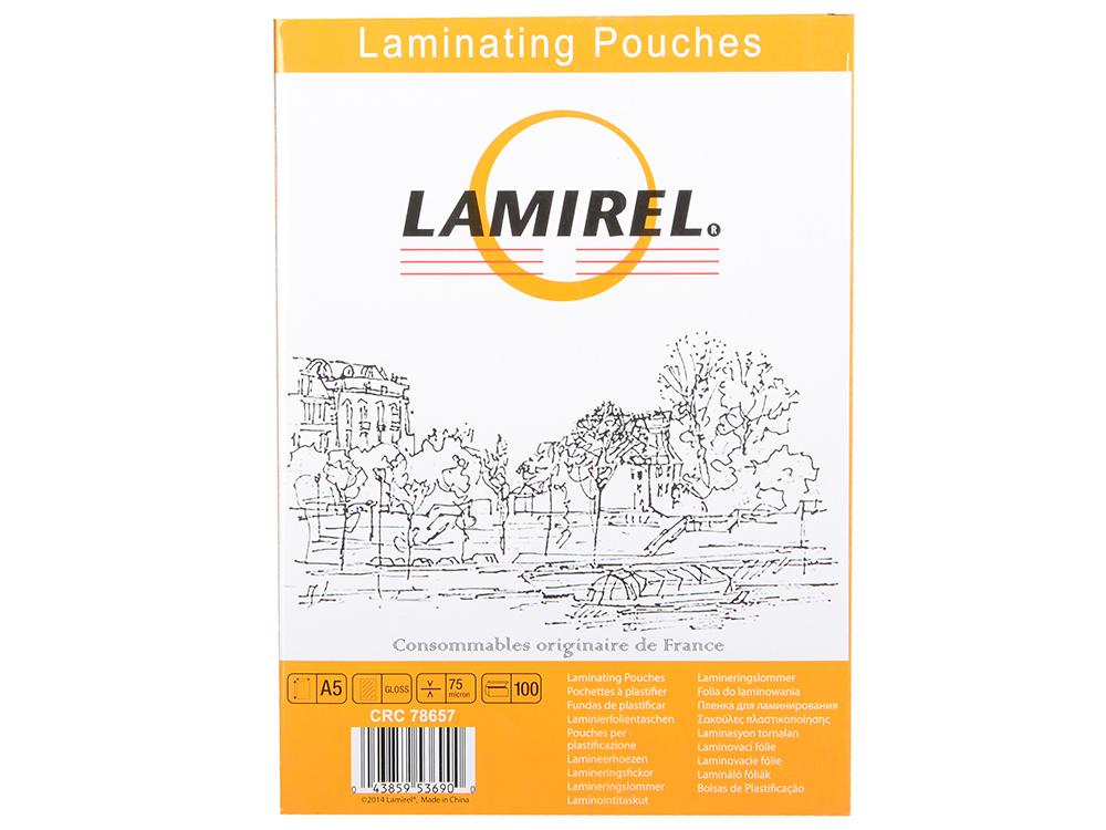 Плёнка для ламинирования Lamirel А5 (LA-7865701) 154х216 мм, 75 мкм, глянцевая,100 шт. влажные салфетки fellowes lamirel la 21617 01 24 шт