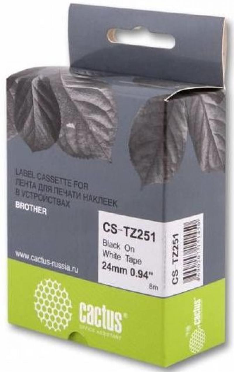 Лента ламинирования Cactus TZ-251 24мм для P-Touch 1010/1280/1280VP/2700VP черный на белом