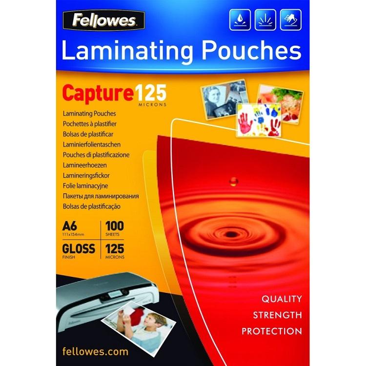 Плёнка для ламинирования Fellowes A6 (53072) 111х154 мм, 125 мкм, глянцевая, 100 шт. плёнка для ламинирования fellowes 53067 65х95 мм 125 мкм глянцевая 100 шт