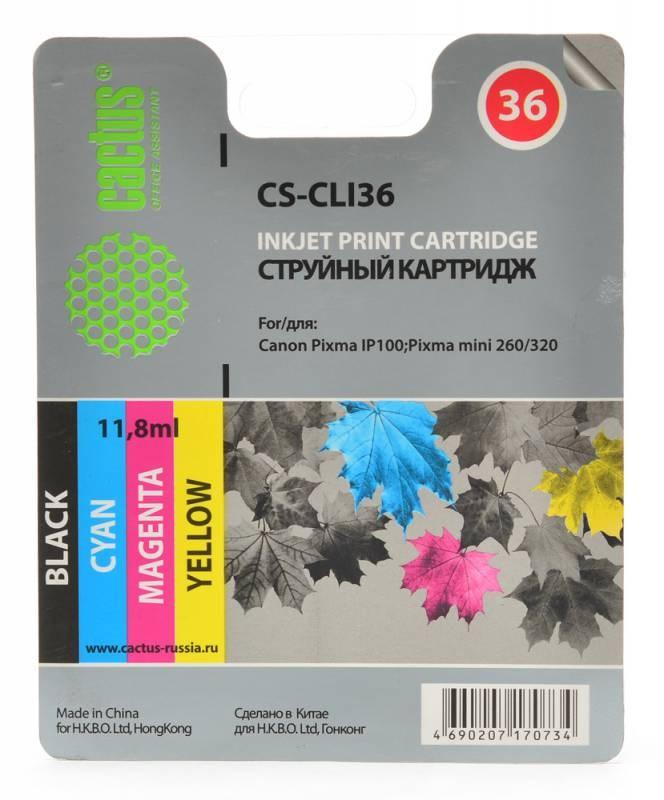 Картридж CACTUS CS-CLI36 для Canon Pixma 260 цветной картридж для принтера colouring cg cli 426c cyan