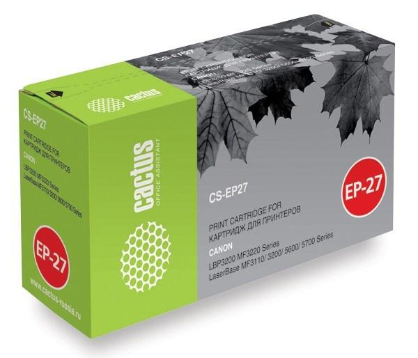 все цены на Картридж Cactus CS-EP27S для Canon LBP3200 MF3220 LaserBase MF3110 3200 5600 черный 2500стр онлайн