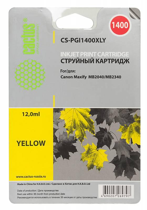 Картридж Cactus CS-PGI1400XLY для Canon MB2050/MB2350/MB2040/MB2340 желтый картридж совместимый для струйных принтеров cactus cs pgi29y желтый для canon pixma pro 1 36мл cs pgi29y