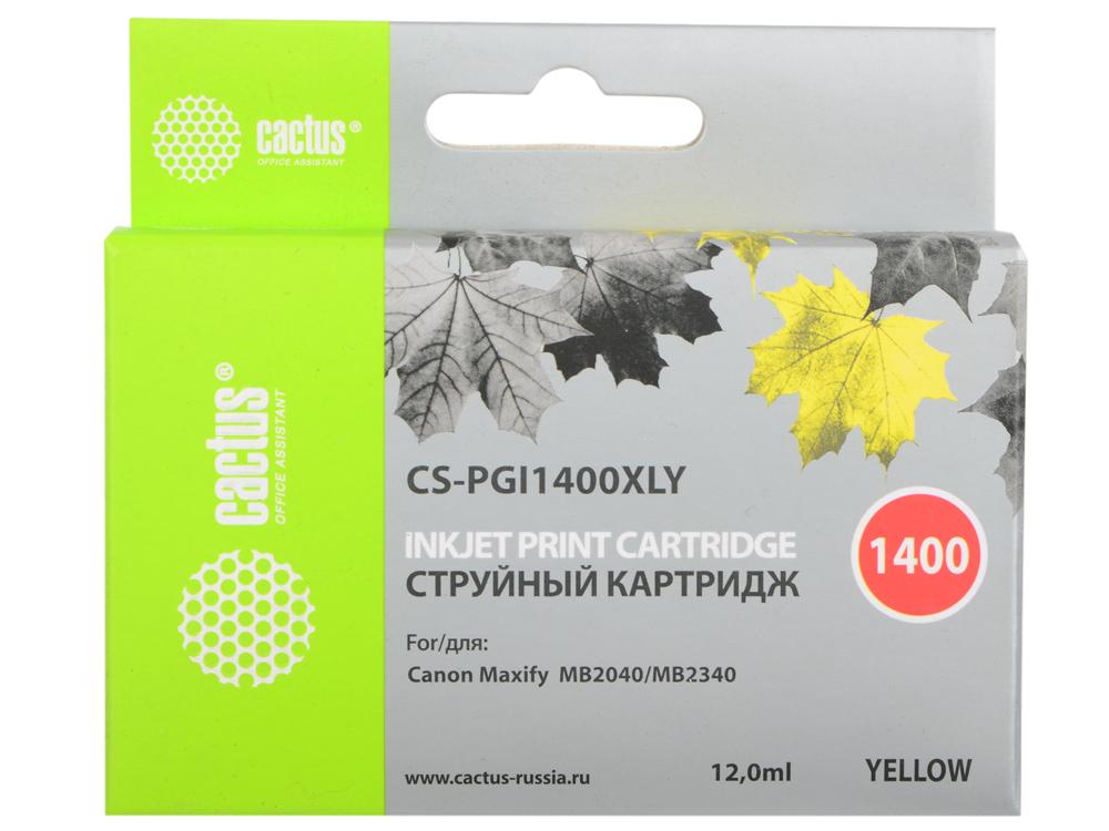 купить Картридж Cactus CS-PGI1400XLY для Canon MB2050/MB2350/MB2040/MB2340 желтый по цене 730 рублей