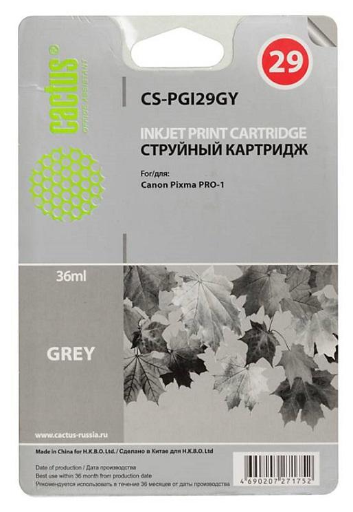 Картридж Cactus CS-PGI29GY для Canon Pixma Pro-1 серый