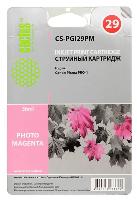 Картридж Cactus CS-PGI29PM для Canon Pixma Pro-1 фото пурпурный картридж cactus cs pgi29pc для canon pixma pro 1 фото голубой