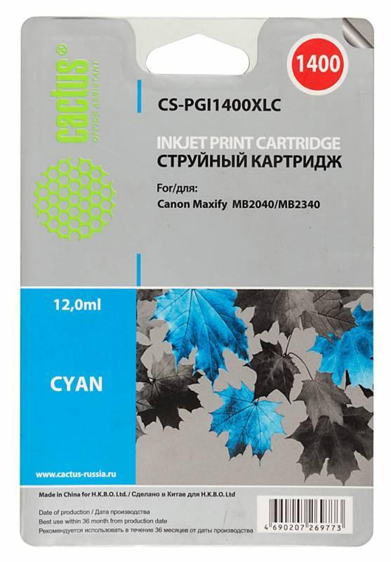 Картридж Cactus CS-PGI1400XLC для Canon MB2050/MB2350/MB2040/MB2340 голубой