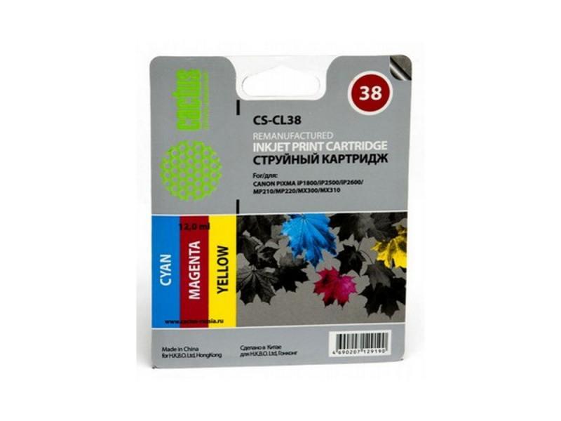 Картридж Cactus CS-CL38 для Canon PIXMA iP1800 iP250 /iP2600 MP210 220 MX300 310 картридж совместимый для струйных принтеров cactus cs pgi29y желтый для canon pixma pro 1 36мл cs pgi29y