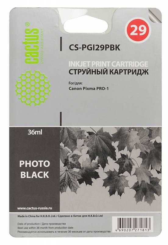 Картридж Cactus CS-PGI29PBK для Canon Pixma Pro-1 фото черный картридж cactus cs pgi29pc для canon pixma pro 1 фото голубой