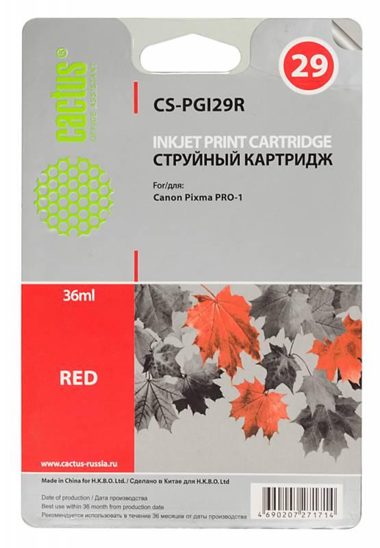 Картридж Cactus CS-PGI29R для Canon Pixma Pro-1 красный картридж совместимый для струйных принтеров cactus cs pgi29r красный для canon pixma pro 1 36мл cs pgi29r
