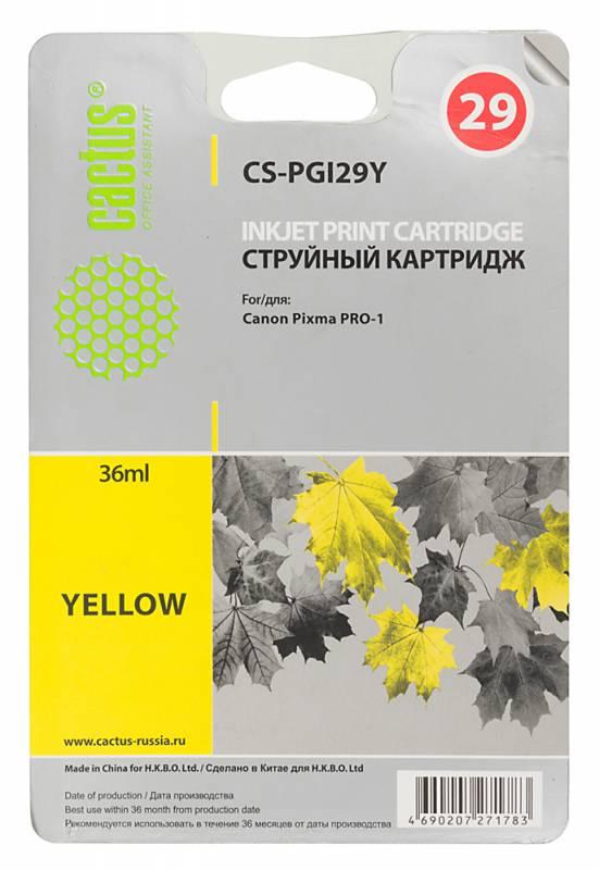 Картридж Cactus CS-PGI29Y для Canon Pixma Pro-1 желтый чернильный картридж canon pgi 29pm